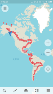 This is the course he has taken northward in the Americas!
